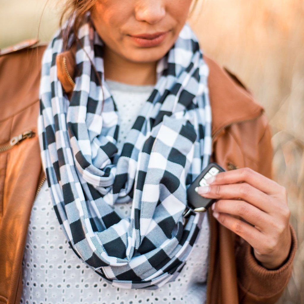 Black & White Buffalo Plaid - Infinity Pocket Scarf - Travel Scarf - The Poppy Stock