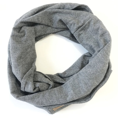 Black & White Herringbone - Infinity Pocket Scarf - Travel Scarf - The Poppy Stock