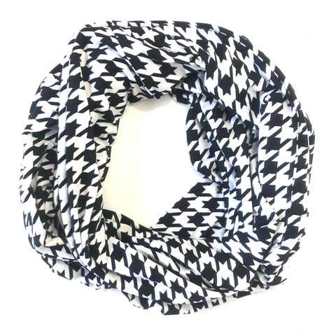 Black & White Houndstooth Infinity Pocket Scarf - Travel Scarf - The Poppy Stock