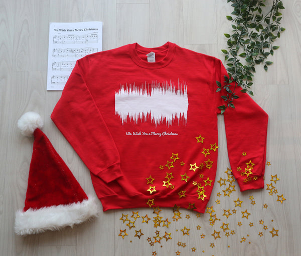 Product photo of the red We Wish You a Merry Christmas Waveform Christmas sweater