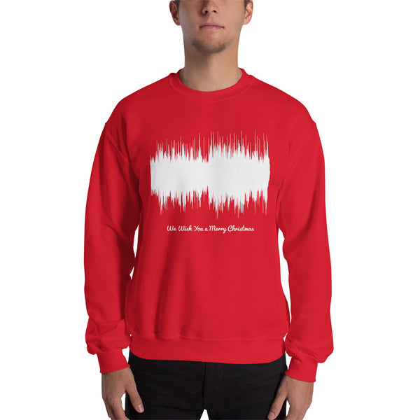 Male model wearing We Wish You a Merry Christmas Waveform (Red Christmas Sweater)