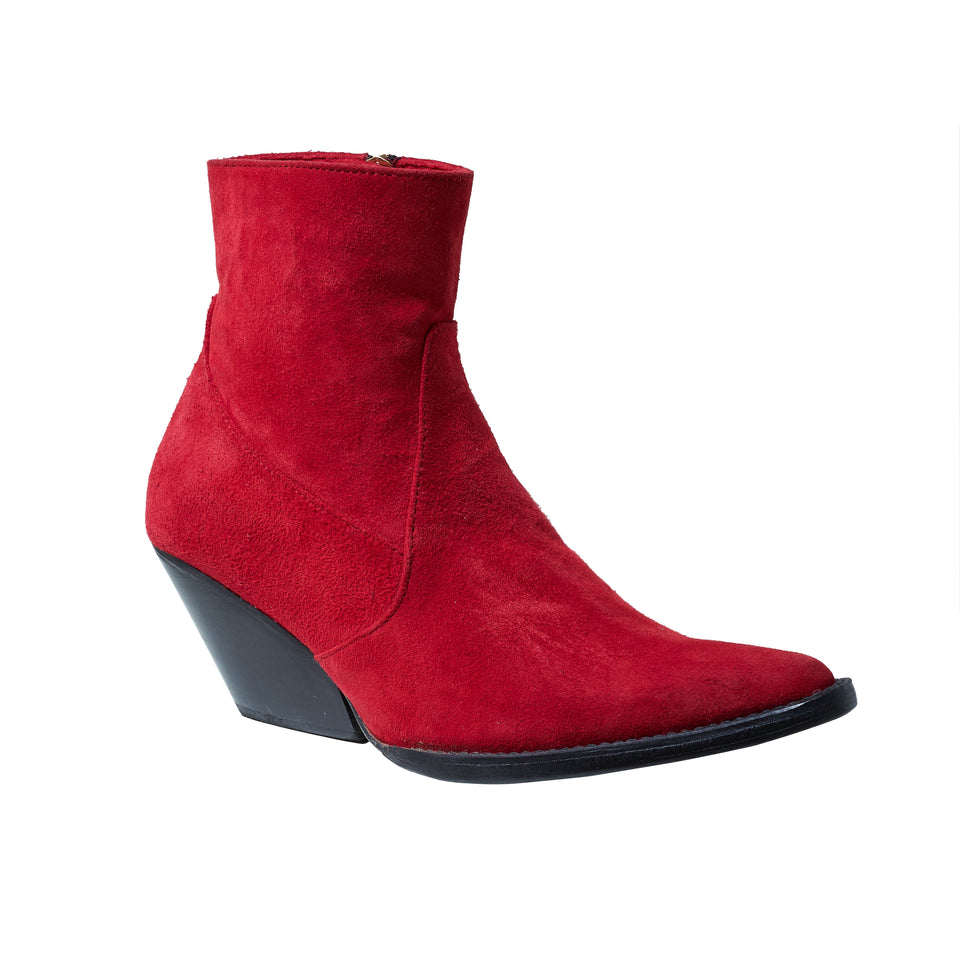 WESTERN BOOT- RED SUEDE