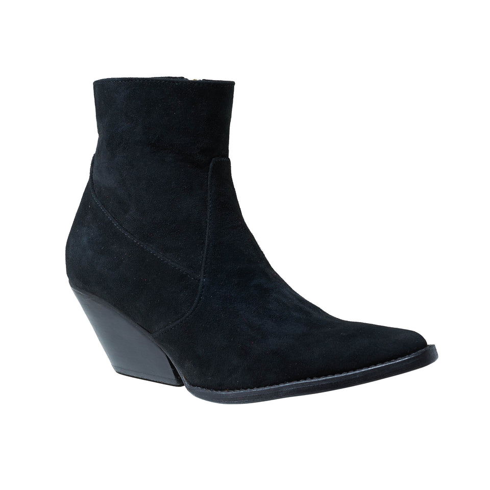 WESTERN BOOT- BLACK SUEDE