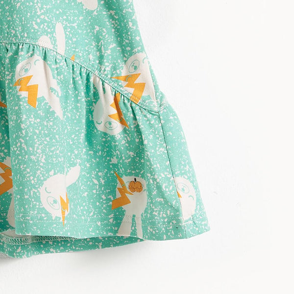 BELL - Bunny Print Sleeveless Kids Dress - Aqua Bunny