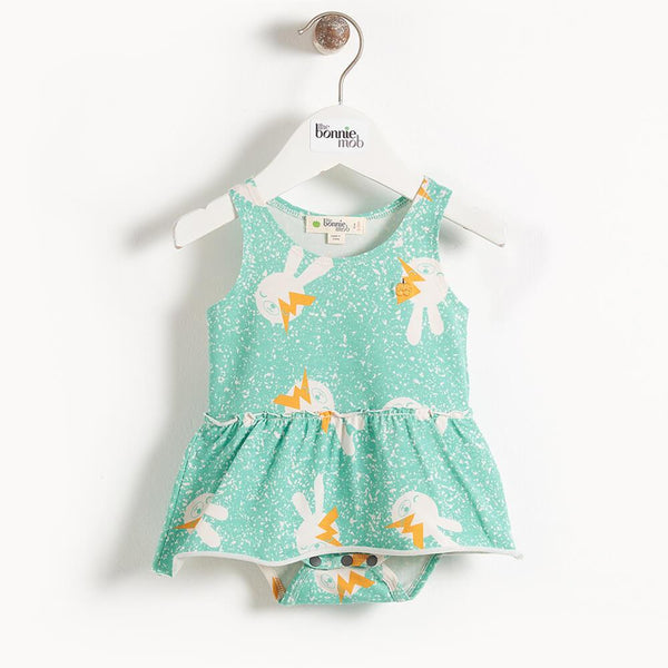 BLINK - Printed Baby Bodysuit With Integral Skirt - Aqua  Bunny