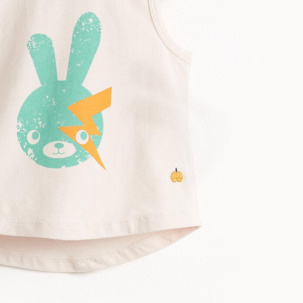 BOWIE - Sleeveless Kids T Shirt - Placed Aqua Bunny Print