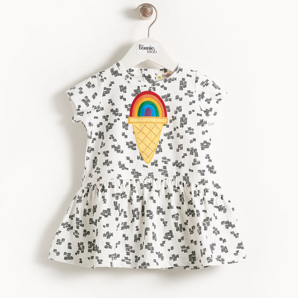 CALLOW - Motif Short Sleeve Full Frill  Kids Dress - Apple Applique