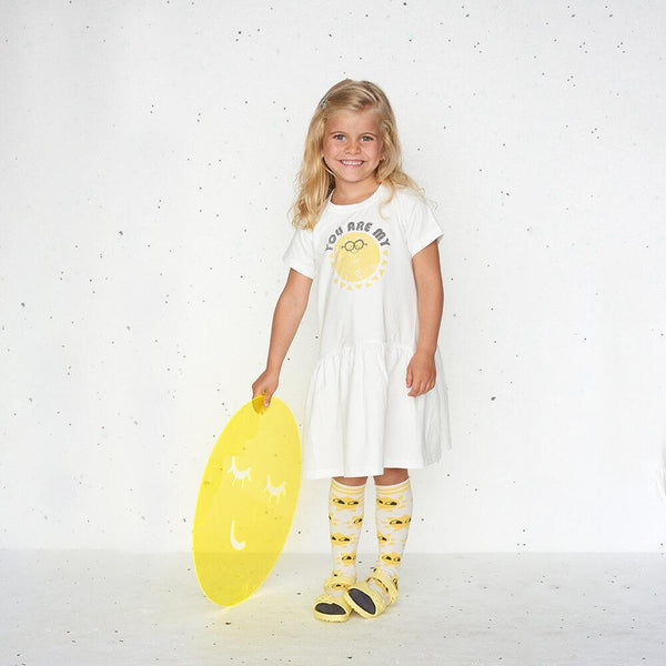 CALLOW - Motif Short Sleeve Full Frill  Kids Dress - You Are My Sunshine
