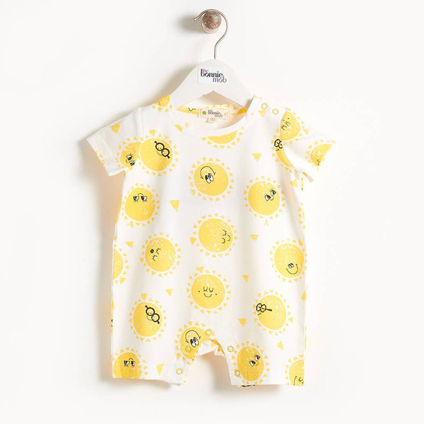 DAMIEN - Printed Shorty Baby Playsuit - Sunshine Print