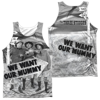 THREE STOOGES/TUNIS 1500-ADULT 100% POLY TANK TOP-WHITE- Allow 7 business day processing time before available to ship