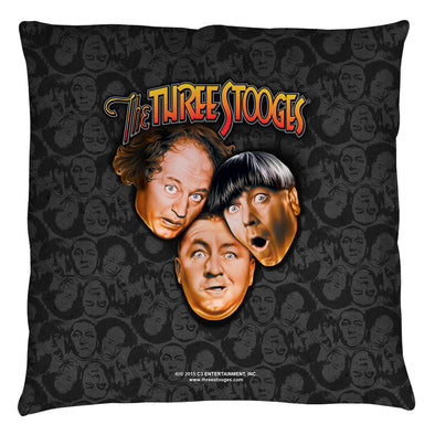 The Three Stooges Throw Pillow: Stooges All Over - 18x18 - Allow 7 business days for processing time before ready to ship
