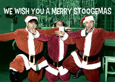The Three Stooges Christmas Postcards - Bundle of 25 w/Envelope