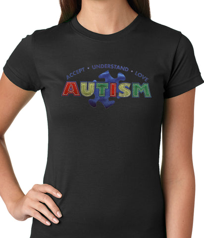 Autism Awareness - Accept, Understand, Love Ladies T-shirt