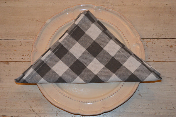 Napkins, Country Check 41x41cm Charcoal Grey / White pack of 4