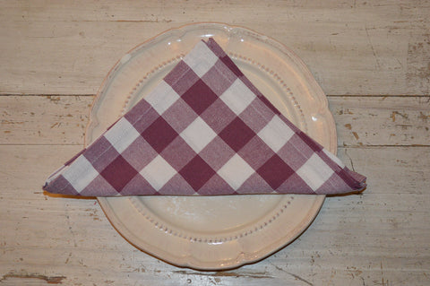 Napkins, Country Check 41x41cm Damson Plum / White pack of 4