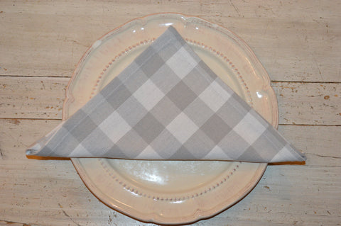 Napkins, Country Check 41x41cm Dove Grey / White pack of 4
