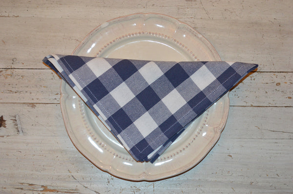 Napkins, Country Check 41x41cm Indigo Navy / White pack of 4