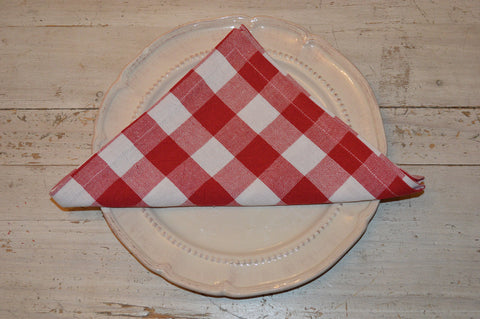 Napkins, Country Check 41x41cm Red / White pack of 4