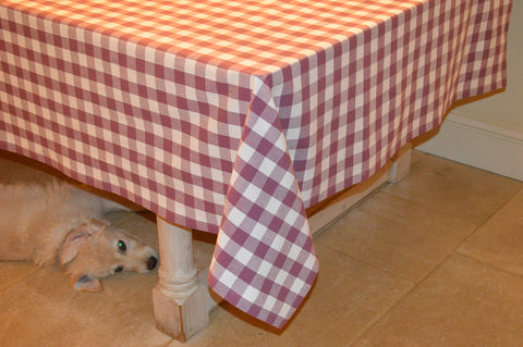 Tablecloth, 100% Cotton Country Check Damson Plum/White 10 Sizes Square Round Oblong
