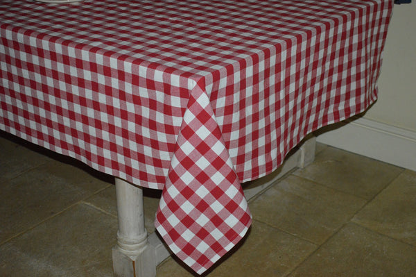Tablecloth, 100% Cotton Country Check Red/White 10 Sizes Square Round Oblong