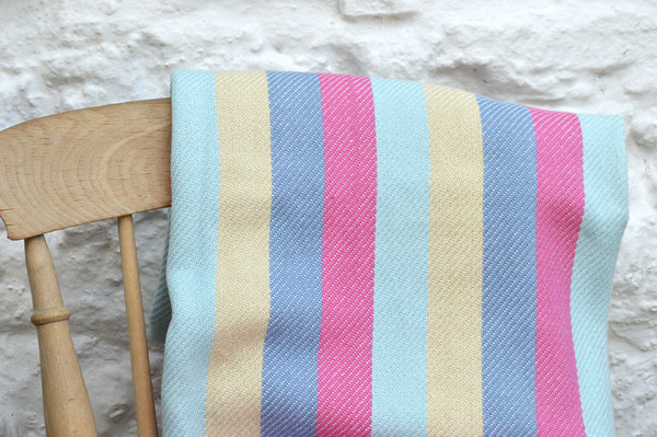 Throw, 100% Cotton Multi Stripe 135x152cm