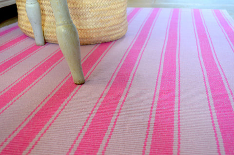 Floor Rug, 100% Cotton Solent Stripe Rib Weave in Fuchsia Pink/Orchid Pink 2 Sizes