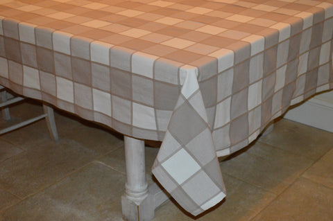 Tablecloth, 100% Cotton Woven Large Check Beige / Cream 10 Sizes Square Round Oblong