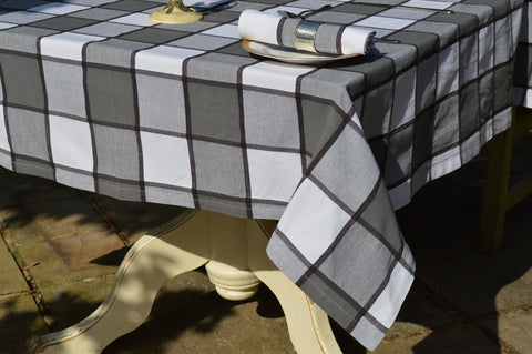 Tablecloth, 100% Cotton Woven Large Check Charcoal Grey / White 10 Sizes Square Round Oblong