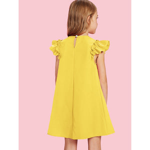 Ruffle shoulder chic simple yellow tunic dress.