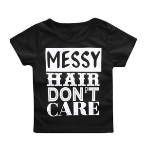 "Simple, everyday ""messy hair, don't care"" toddler t-shirt"
