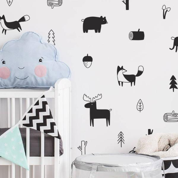 Nordic Style Forest Animal Wall Decals , Woodland Tree Nursery Vinyl Art Wall Stickers Children Room Modern Wall Decor