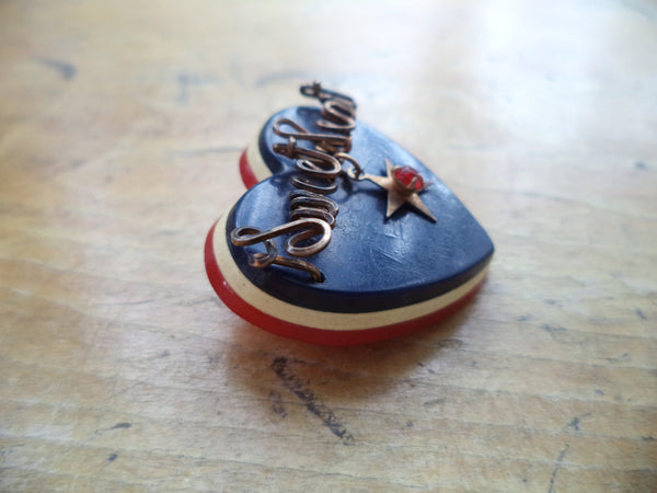 WWII Sweetheart One Star Heart Pin Gold Filled Script Wire Red White Blue Laminate Bakelite
