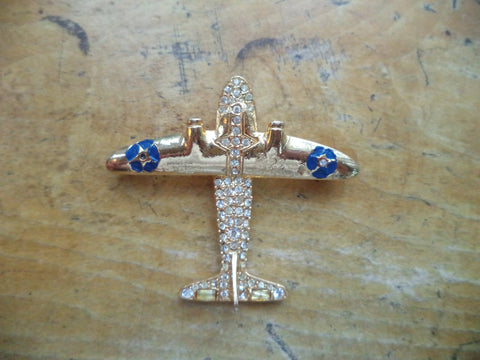 Mid Century Airplane Brooch Signed POLCINI WWII Air Plane