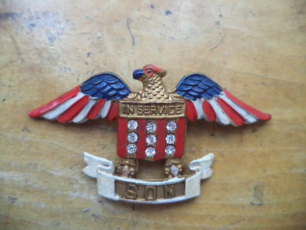 WWII Sweetheart Pin Son in Service Pin Eagle Red White Blue Patriotic Home Front Mothers Pin