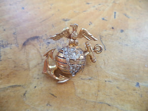 WWII Sweetheart Pin STERLING TIRFARI Anchor Eagle Globe Gold Vermeil Crystal Rhinestones