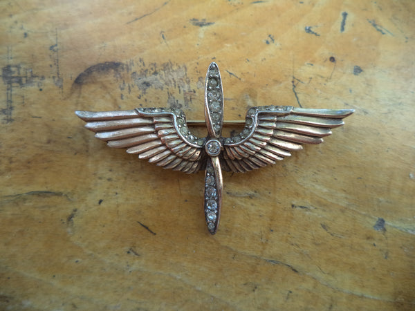 WWII Sweetheart Pin STERLING TRIFARI Wings Propeller Brooch Gold Vermeil Crystal Rhinestones