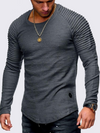 ASHORESHOP: Mens Tops Men trendy longline long sleeve cotton T shirt