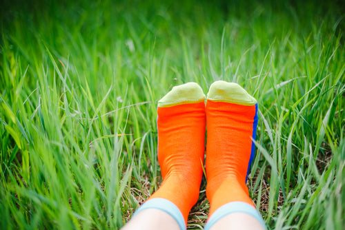 bright socks in the grass