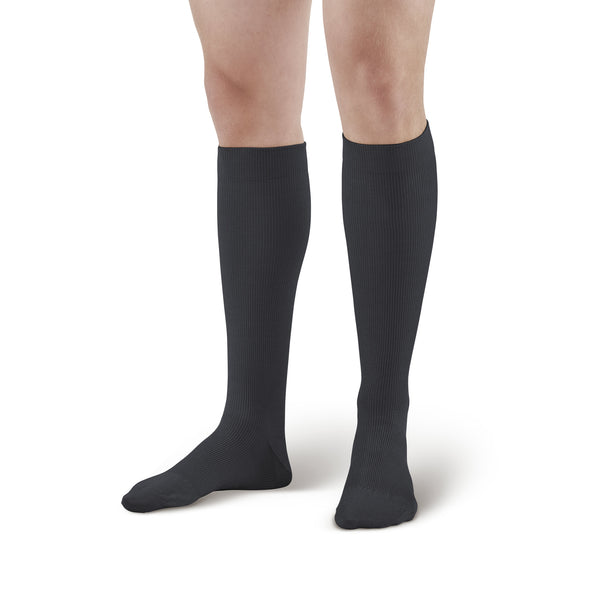 AW Style 111 Unisex Cotton Over-the-Calf Trouser Socks - 20-30 mmHg - Black