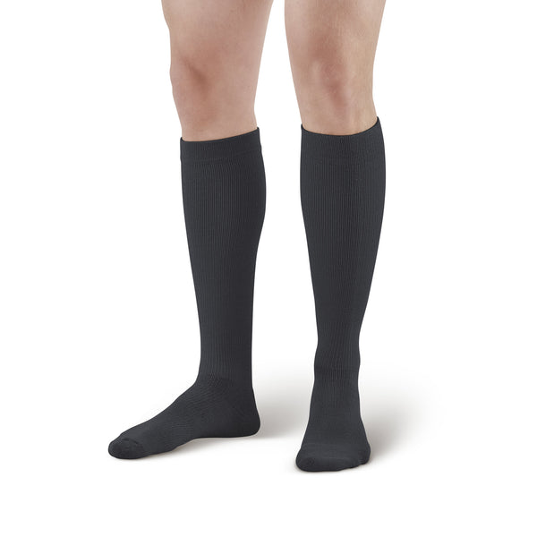 AW Style 635 Sports Performance Knee High Socks - 8-15 mmHg - Black