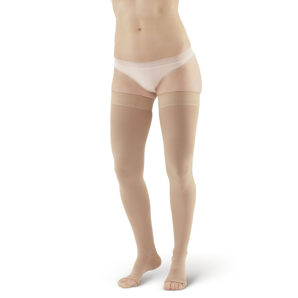 AW Style 305 Medical Support Open Toe Thigh Highs w/Sili Dot Band - 30-40 mmHg - Beige