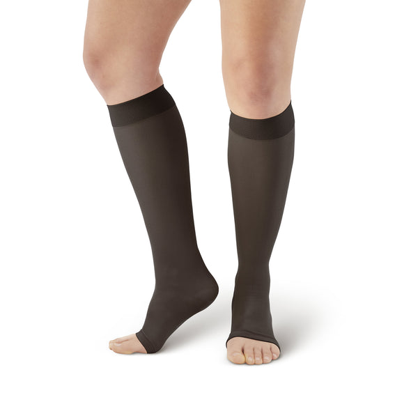 AW Style 213 Microfiber Opaque Knee Highs Open Toe - 20-30 mmHg - Black