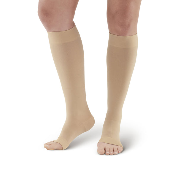 AW Style 291OT Luxury Opaque Open Toe Knee Highs - 20-30 mmHg - Beige