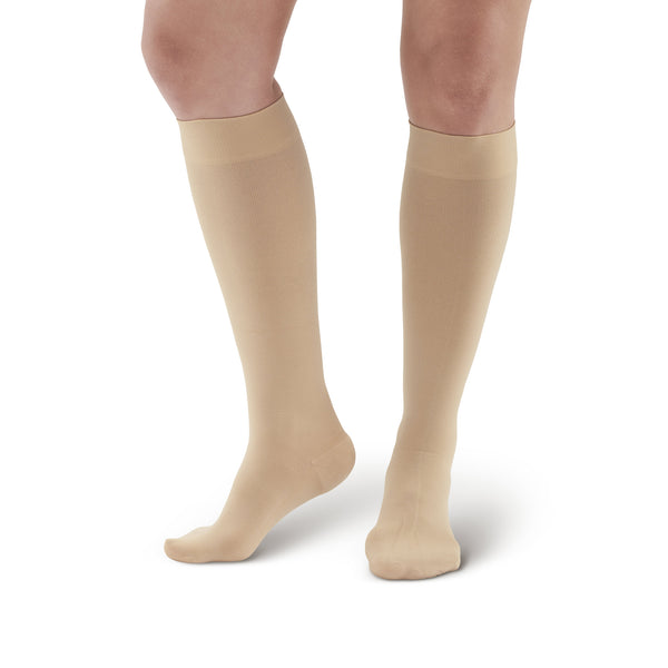AW Style 291 Luxury Opaque Closed Toe Knee Highs - 20-30 mmHg - Beige