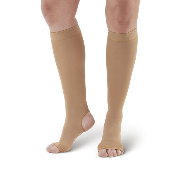 AW Style 515 Microfiber Opaque Open Toe/Open Heel Knee Highs - 20-30 mmHg