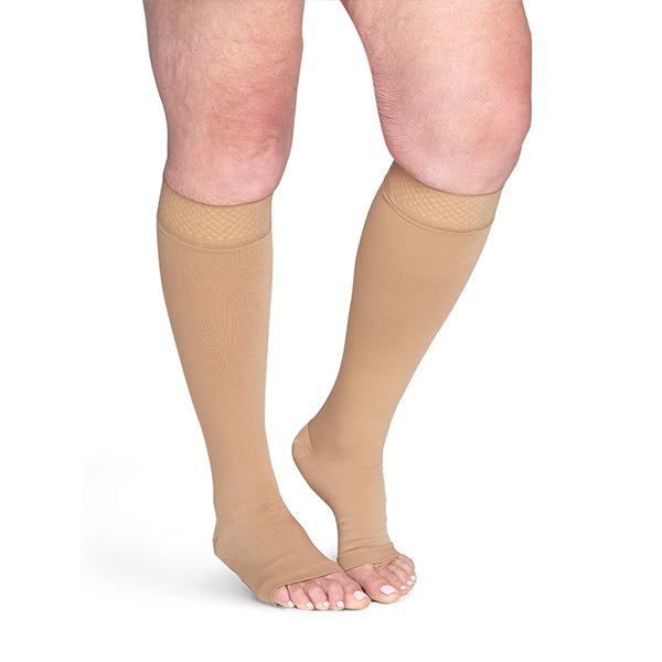 Sigvaris Secure 553 Unisex Open Toe Knee Highs w/Silicone Band - 30-40 mmHg