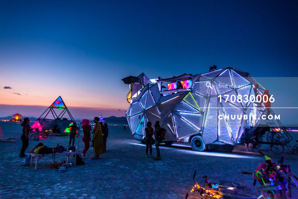 170830006 |  The BAAAHS art car on the playa at the break of dawn Wednesday, after Tuesday night's party with... | Team Chuubie