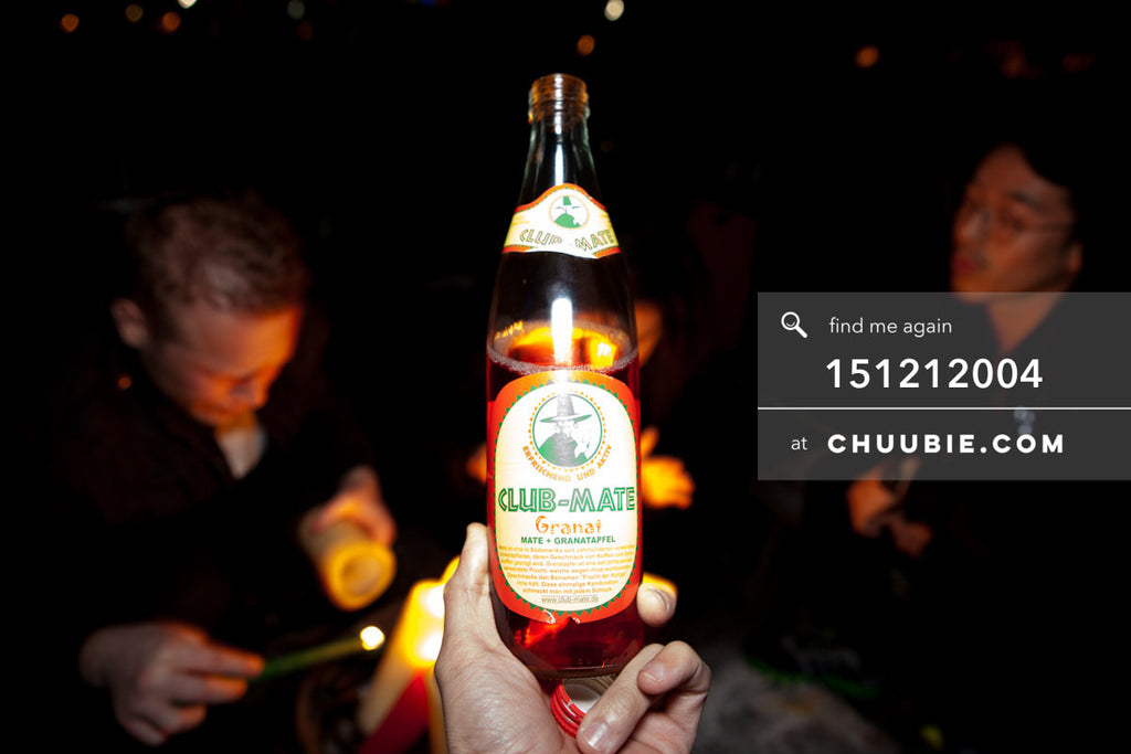 151212004 | Holding a bottle of Club Mate Granat (Pomegranate) on Brooklyn Rooftop. — Sublimate & Ruse La... | Team Chuubie