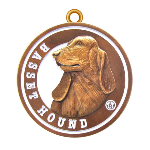 Basset Hound Dog Id Tag Antique Gold Finish - Tags4Tails