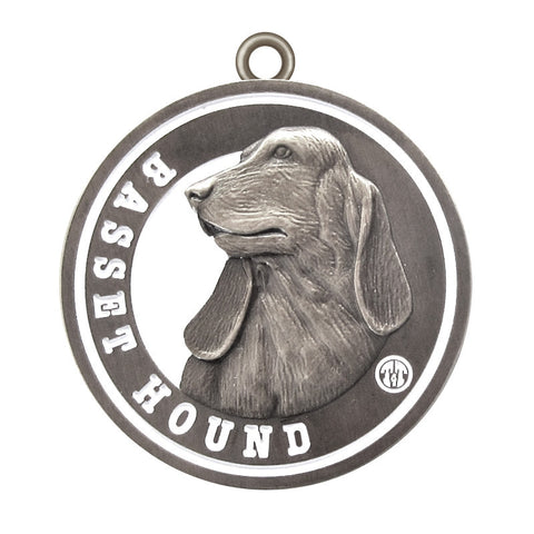 Basset Hound Dog Id Tag Antique Silver Finish - Tags4Tails